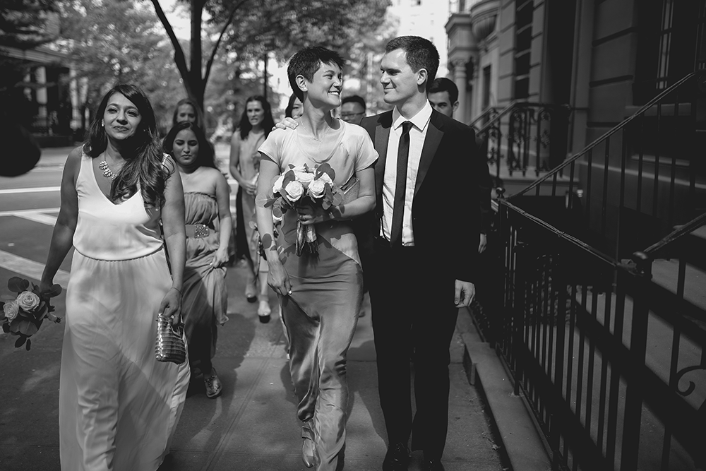 bride and groom portraits in manhattan
