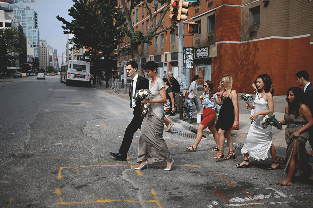 candid bride and groom portraits in manhattan