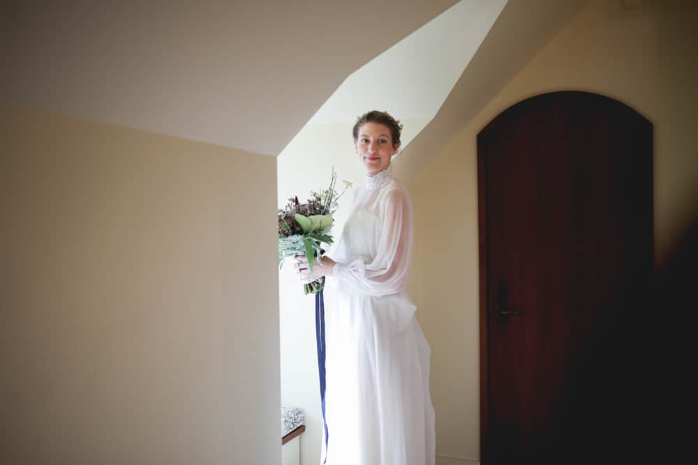 Bride getting ready at Blue Hill farm