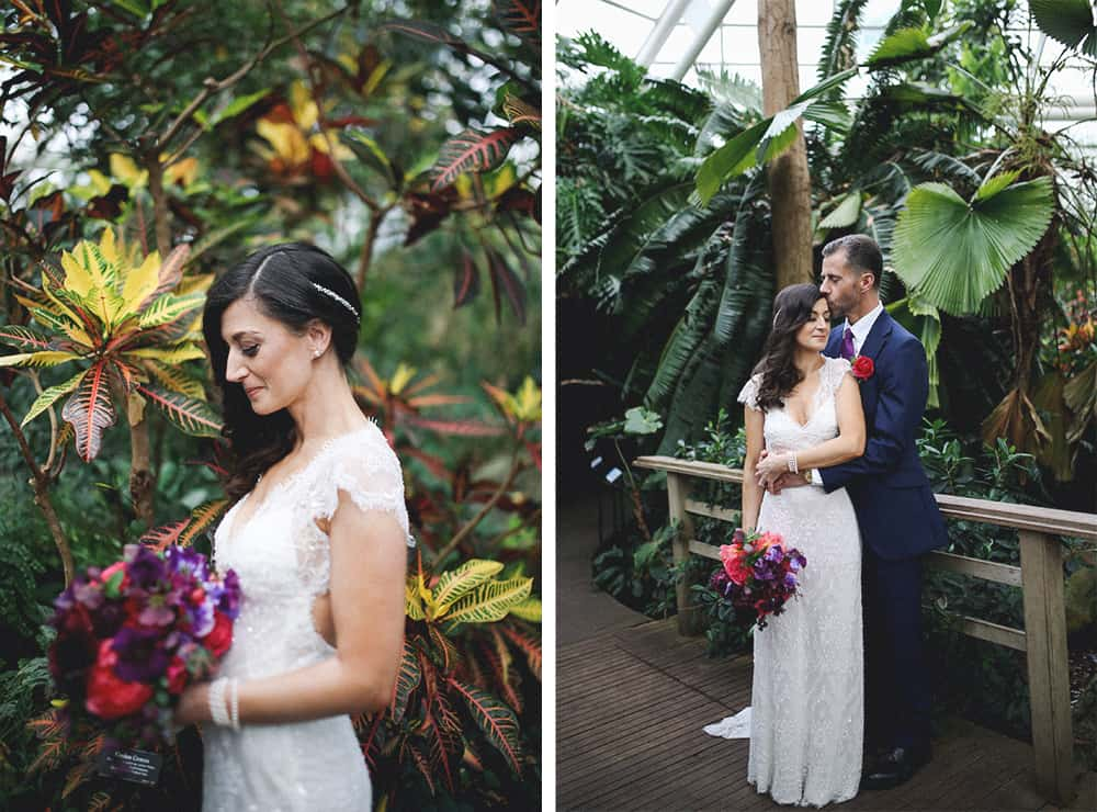 bride and groom wedding portraits at the brooklyn botanical gardens