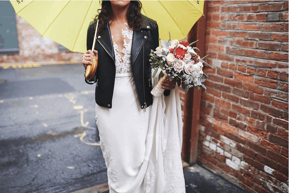 rainy wedding at garner arts center
