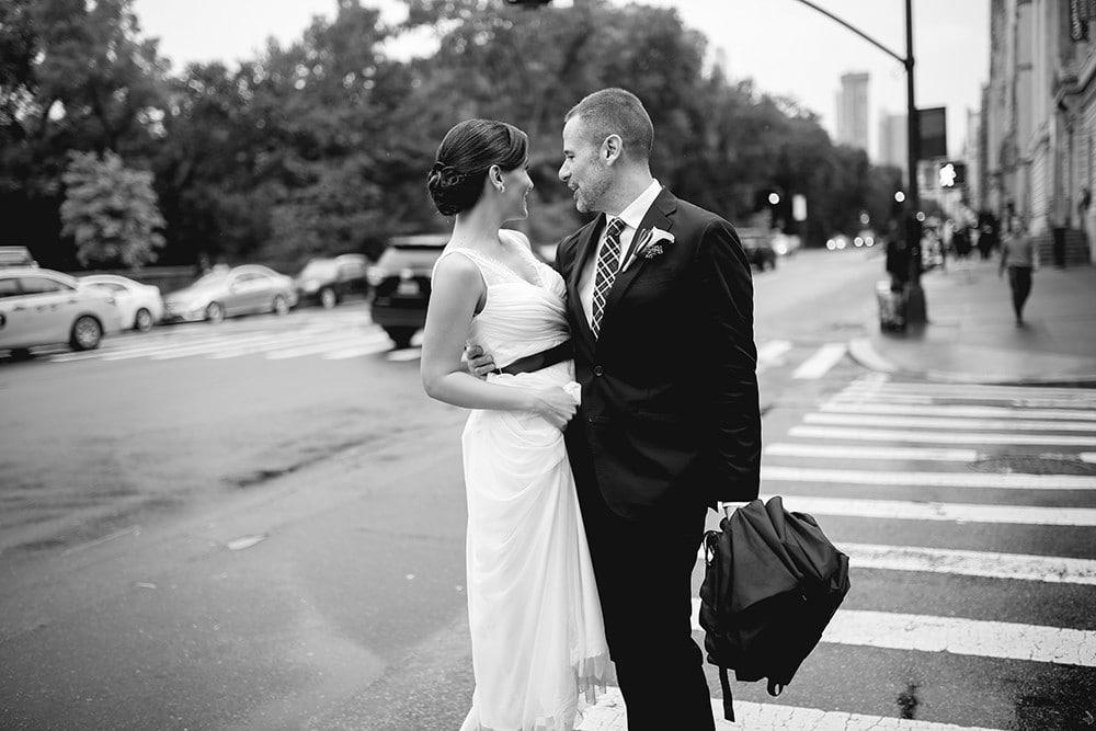 Bride and Groom portraits with umbrellas in Central Park