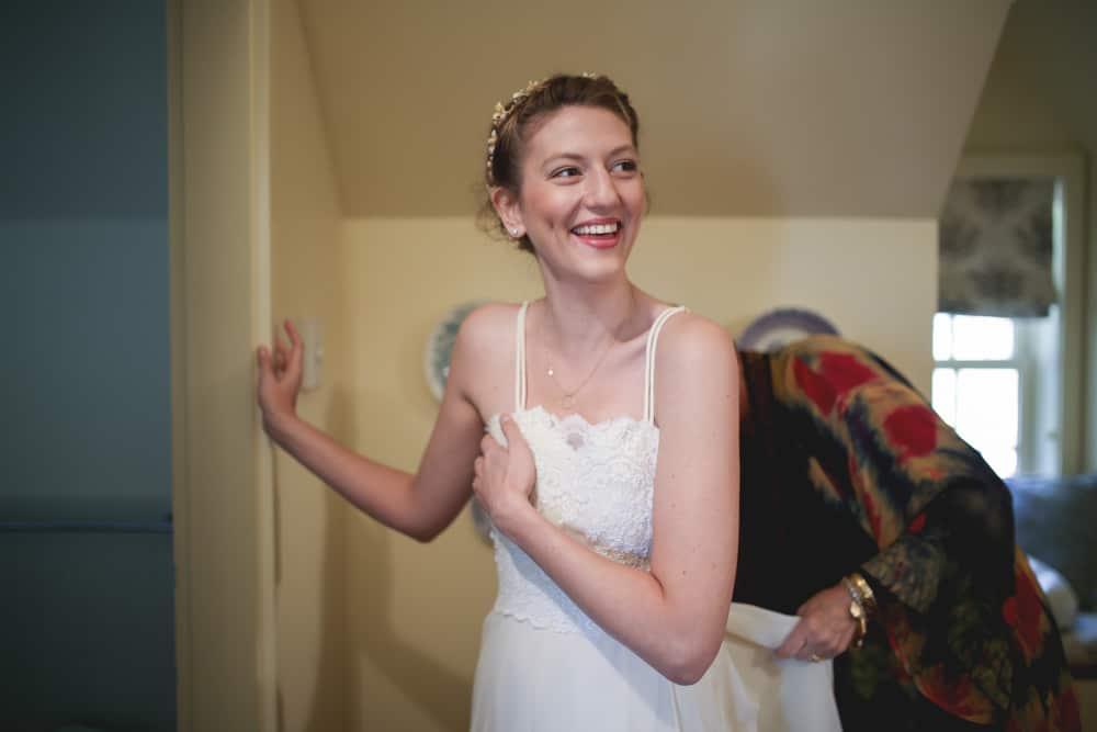 Bride getting ready at Blue Hill farm