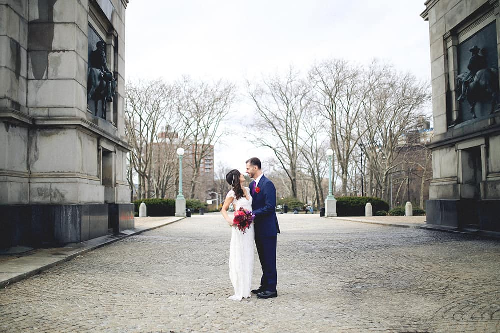 bride and groom portraits at grand army plaza