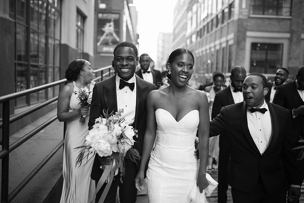Bridal Party portraits in cobblestone streets in Dumbo