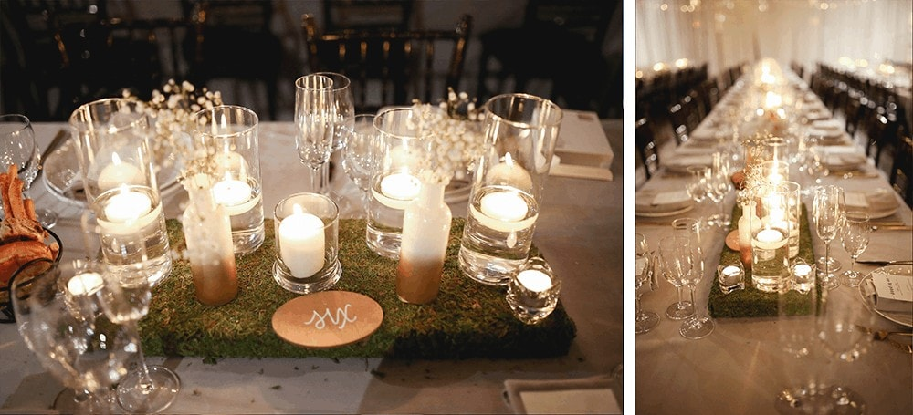 Tablescape with candles at 26 Bridge Brooklyn