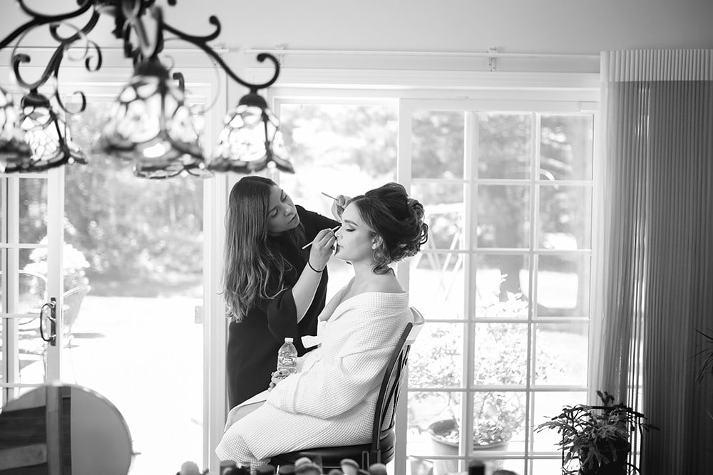 bride getting ready at home in new jersey