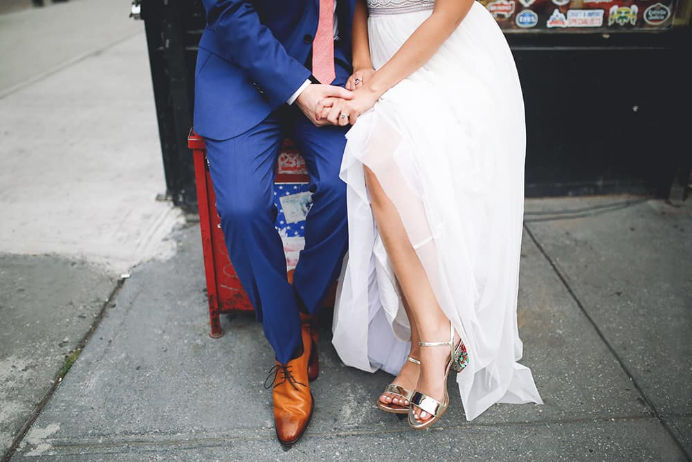 boho wedding in brooklyn brownstone