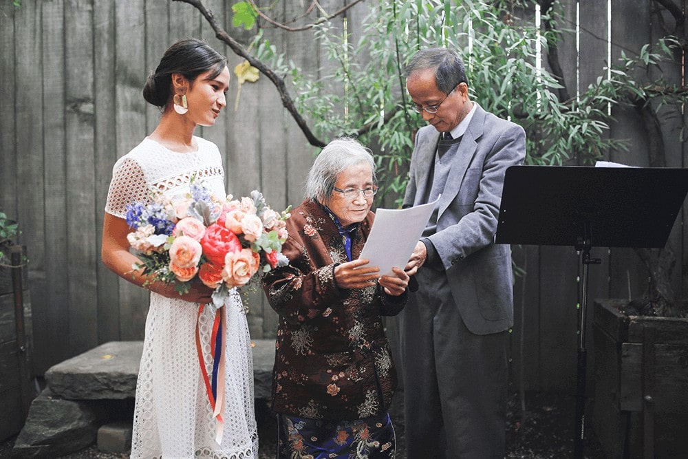 wedding ceremony at frankies spuntino brooklyn