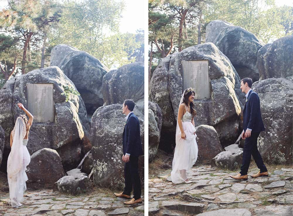 wedding ceremony in the Fontainebleau Forrest, France