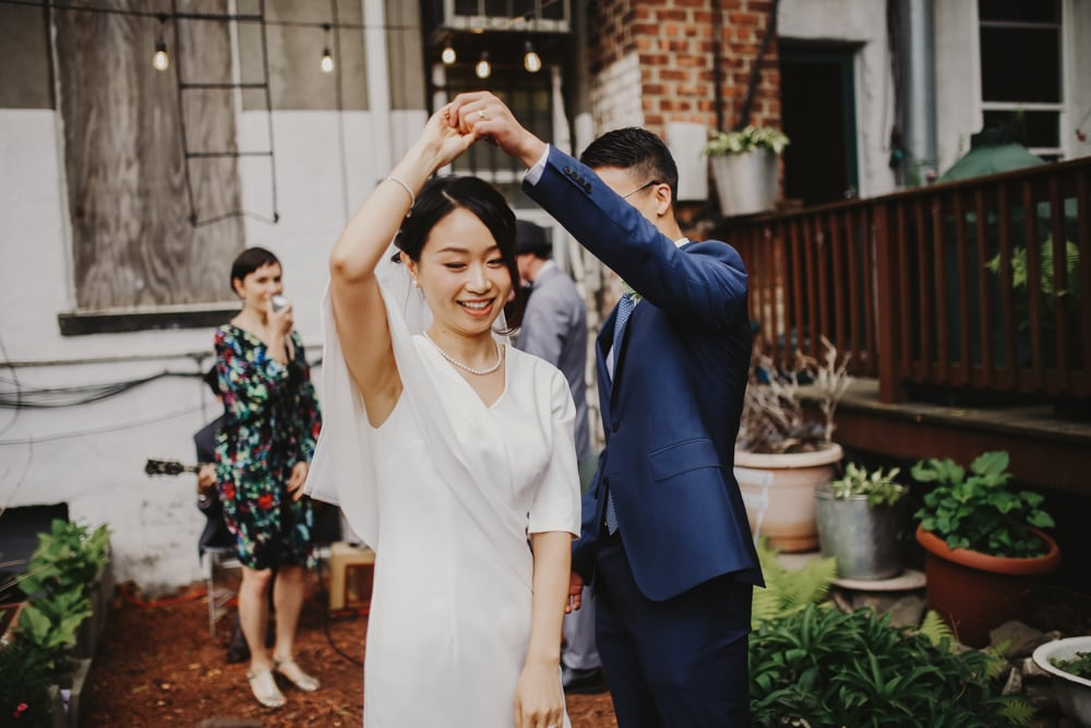 intimate wedding at Naturally Delicious, Brooklyn