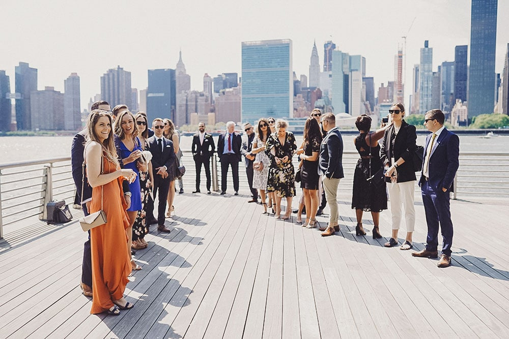intimate wedding on the waterfront in Queens